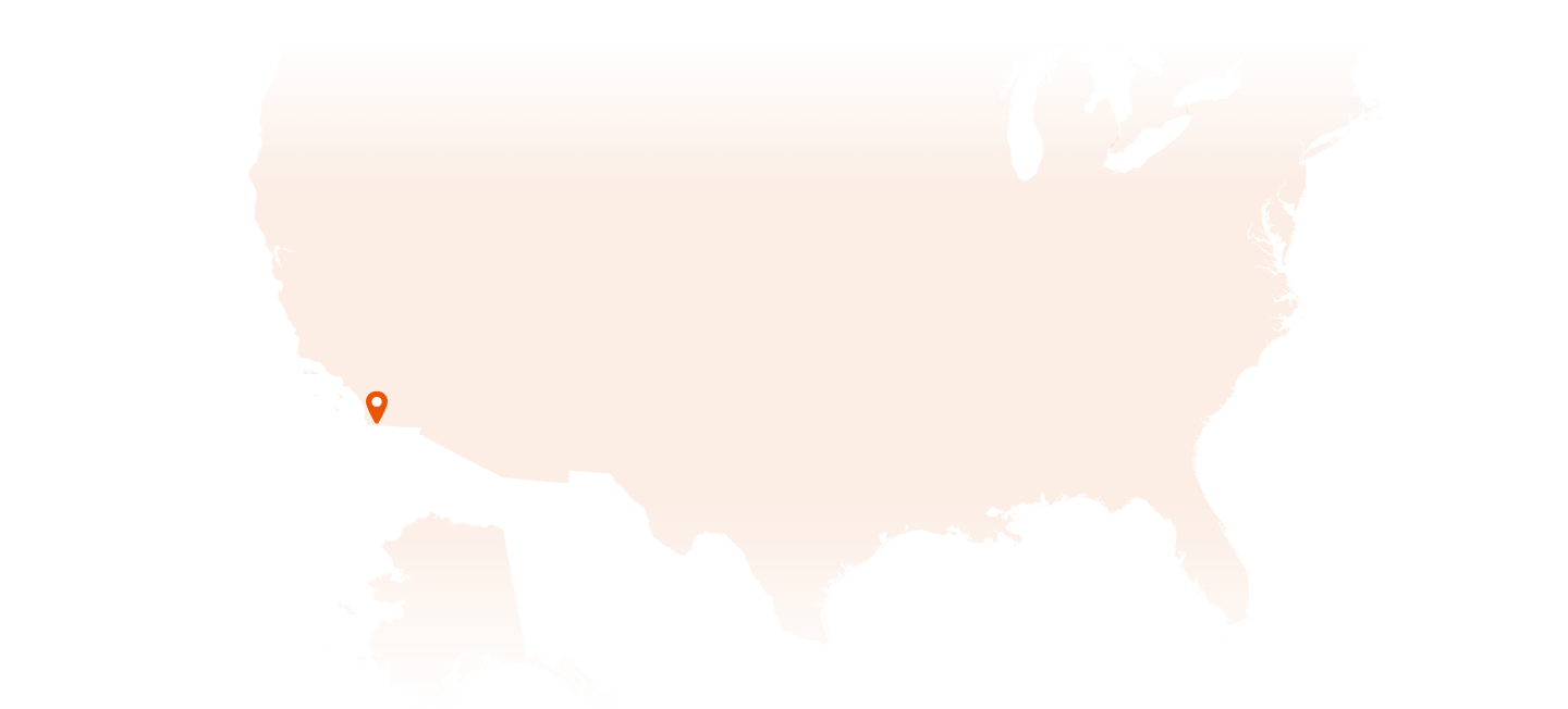 Illustration of North America, with pinpoints indicating the La Jolla, California location of Kyowa Kirin North America offices