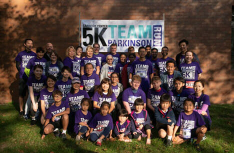Kyowa Kirin North America employees gathered at a fundraising 5K race to support Parkinson's disease