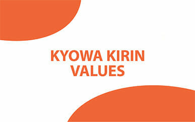 Opening screen of the video titled 'Kyowa Kirin Values'