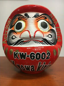 Oval pottery with the painted face of a tiger